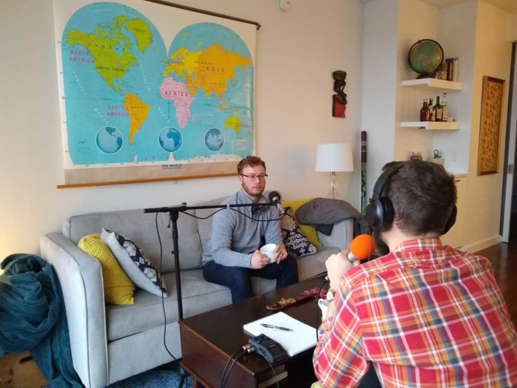 adam records podcast with my peace corps story